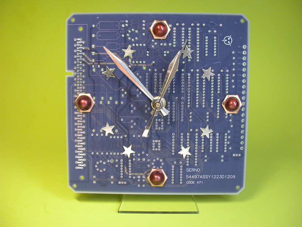 Recycled Circuit Board Galaxy Of Stars Desk Clock This Is Flickr Quartz Debbyaremdesigns By