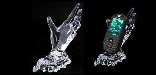 Deluxe Desktop Crystal Hand Holder for Mobile Phone Mp4 PDA - Clear White