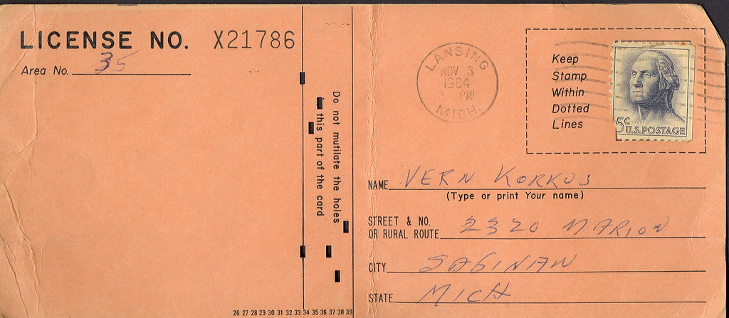 1964 michigan resident anterless deer hunting license appl for Michigan non resident fishing license