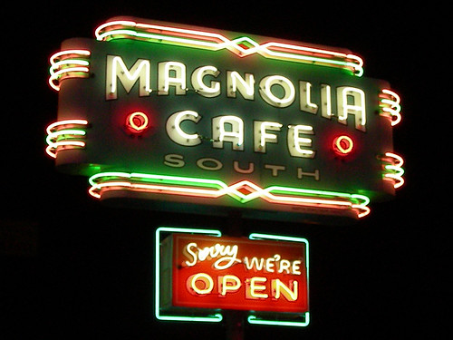 "Neon Sign of the Magnolia Cafe - Austin, Texas - ""Sorry, We're Open"" 