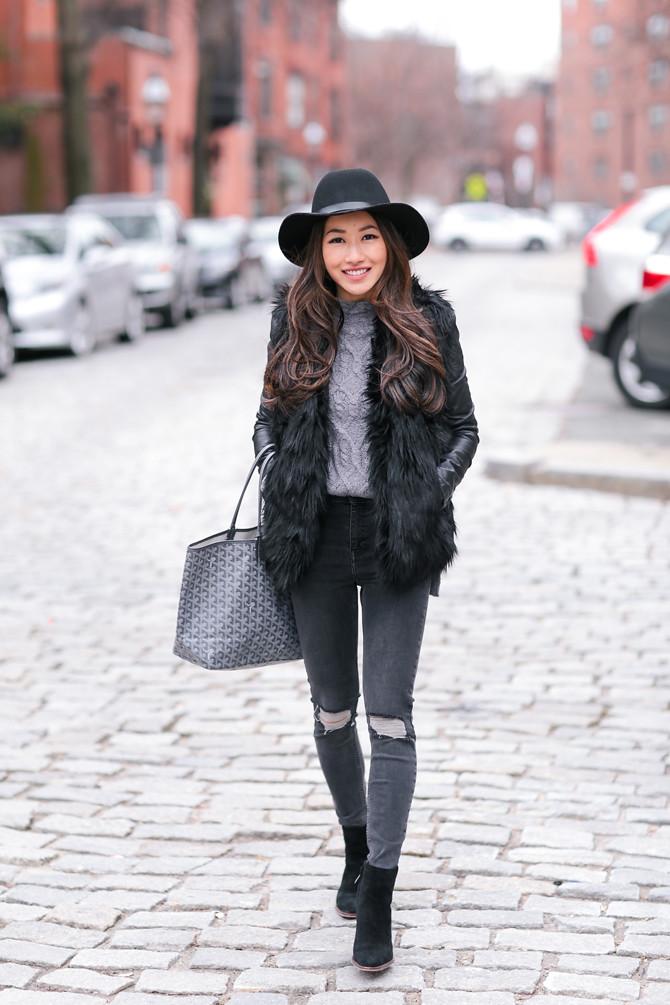 faux fur vest winter outfit layers boston fashion blog