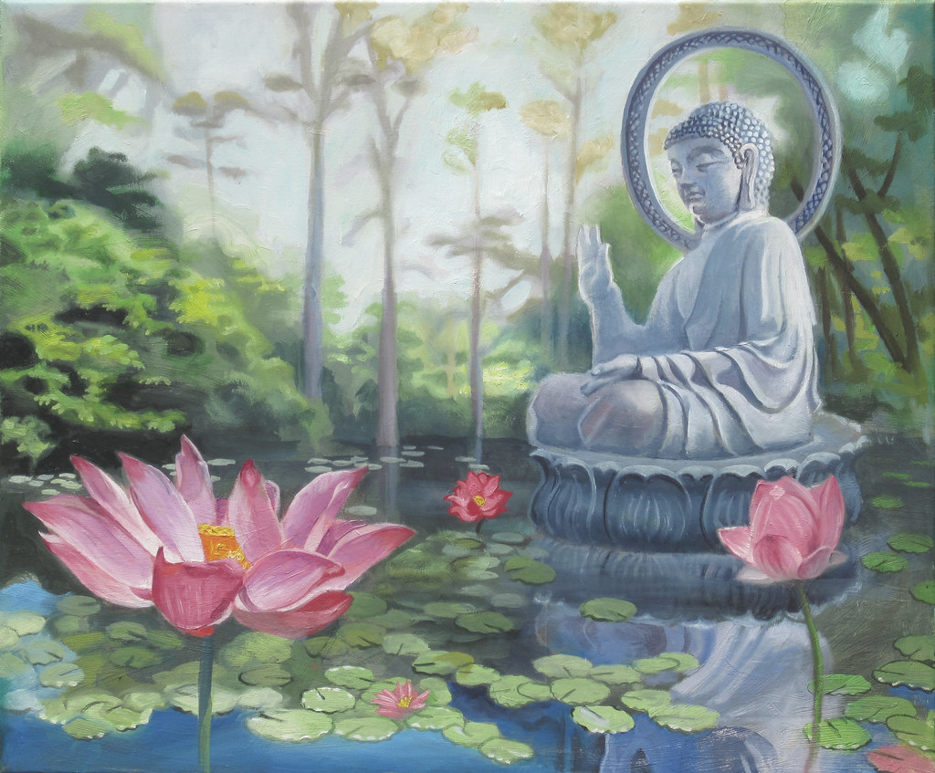 Lotus flowers and buddha this is another oil on stretched flickr lotus flowers and buddha by bmccue7 mightylinksfo Image collections