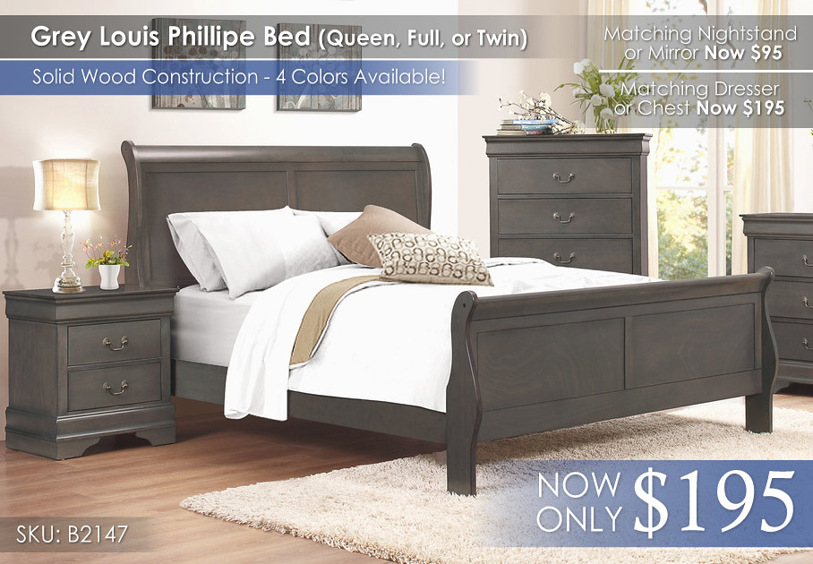 Homelegance Grey Louis Phillipe Bed Only 2147