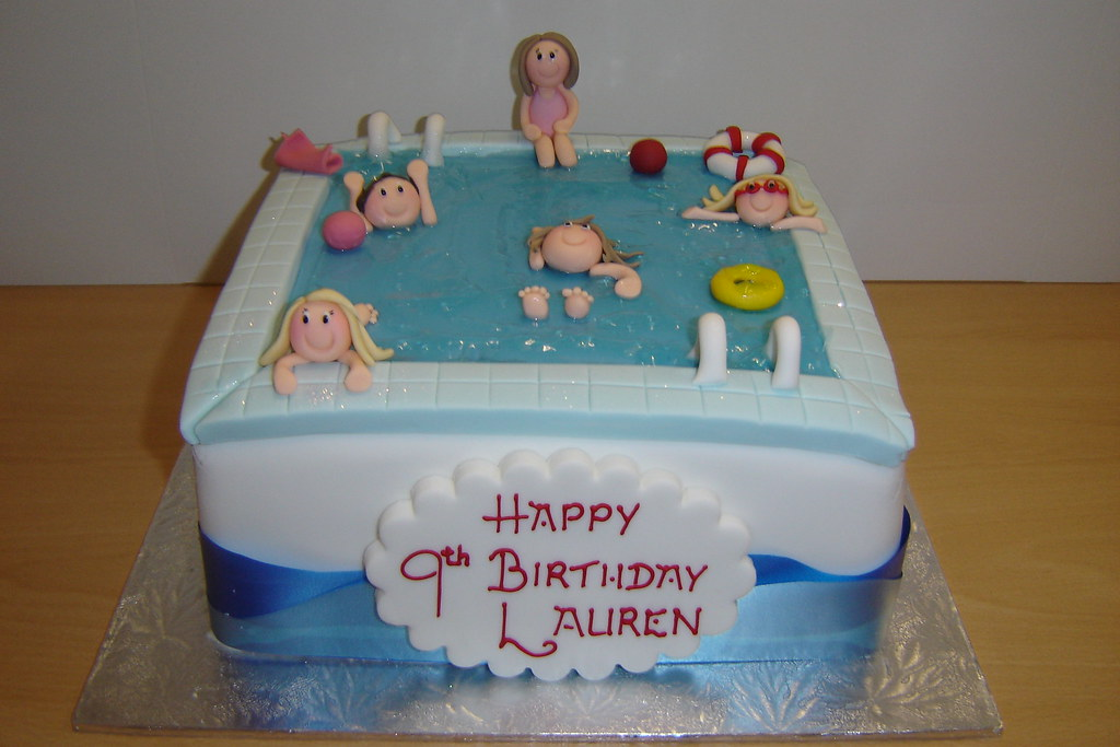 Swimming pool cake helen brinksman flickr for Swimming pool birthday cake pictures