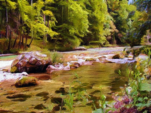 Wooded Riverscape Painting by Leopold Rolhaug