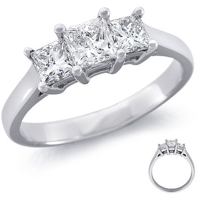 Princess-Cut Three-Stone Diamond Ring (1 ct.) | by votetherock
