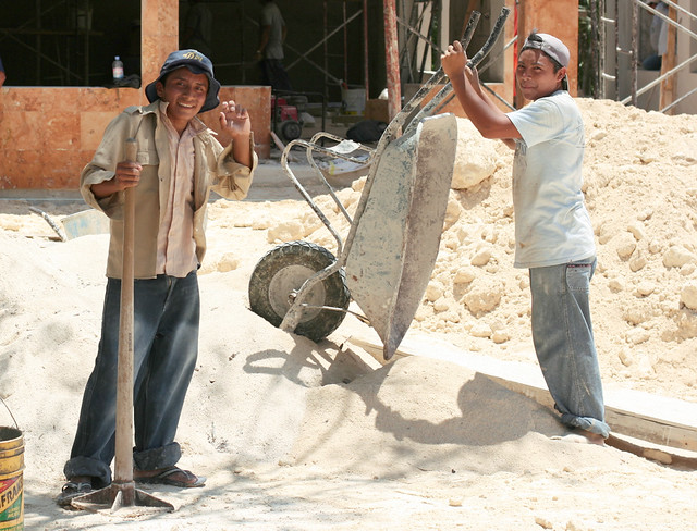 Construction Workers Tulum Mexico