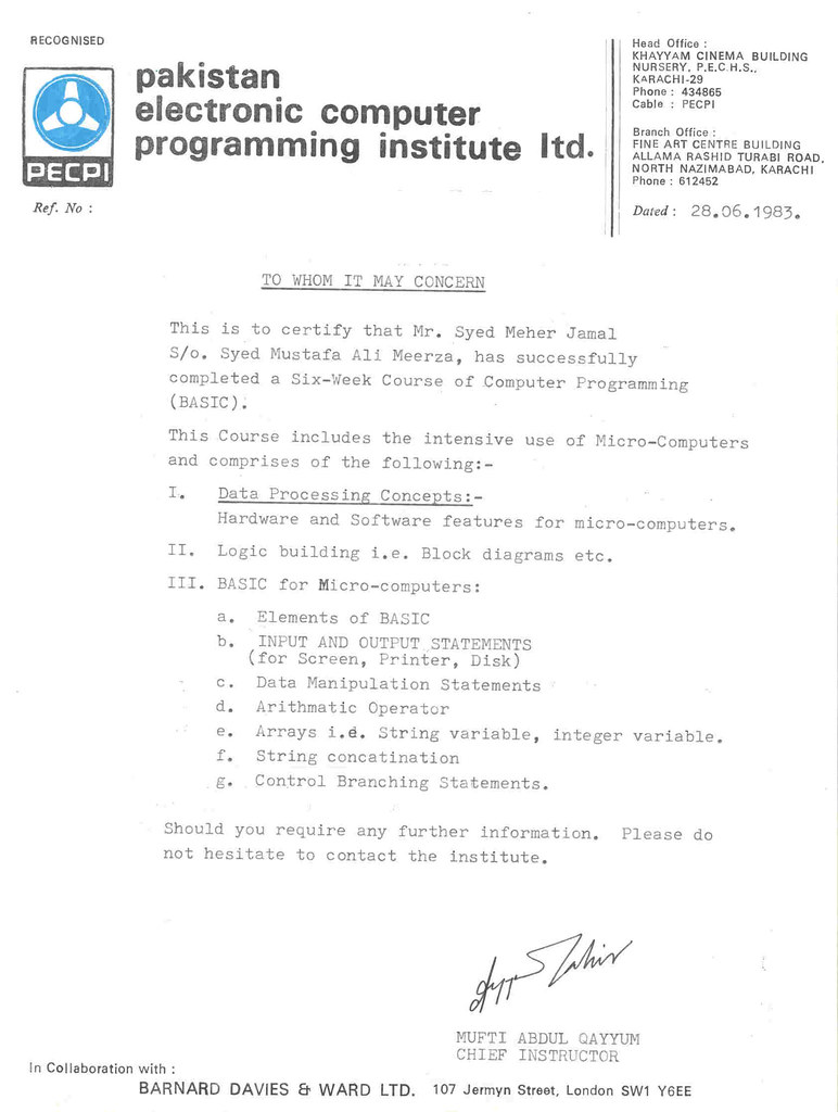 1983 06 28 Basic Computer Programming Certificate Certific Flickr