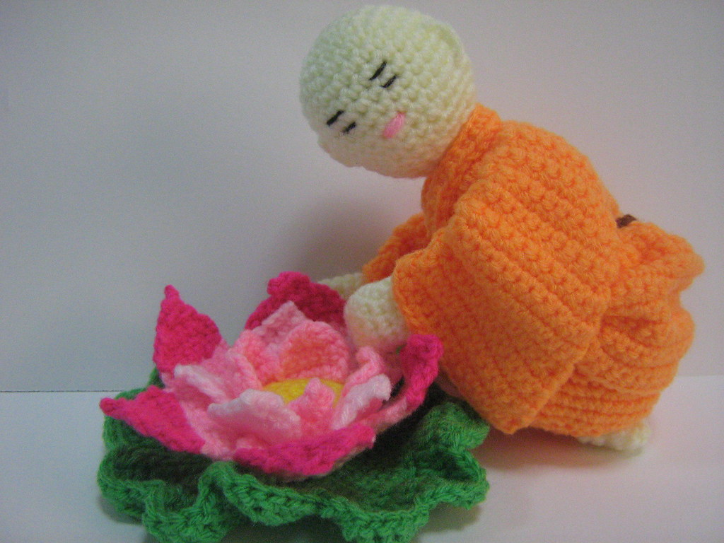 Little Monk With His Favourite Lotus Flower I Crocheted Th Flickr