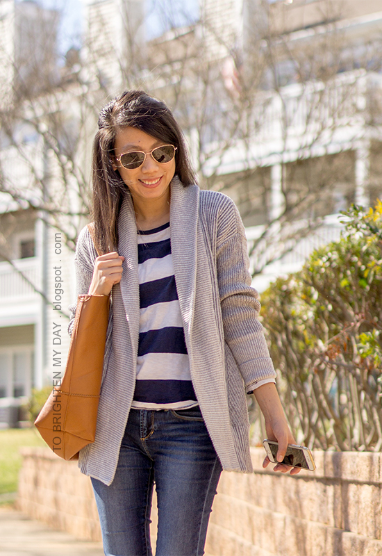 gray mixed rib coatigan, rugby striped top, cognac brown tote, skinny jeans