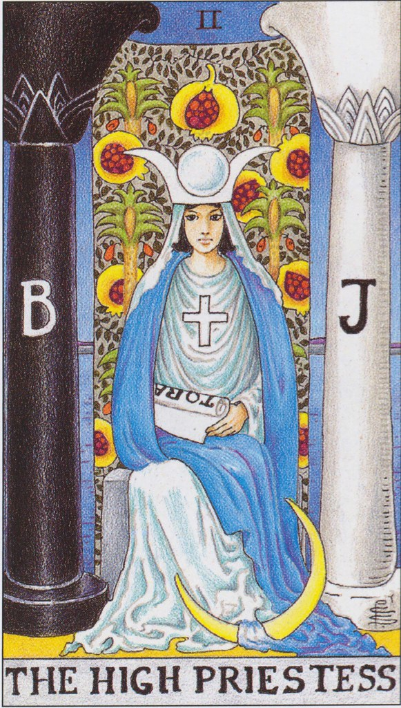 High Priestess Full Colorful Deck Major Stock Illustration: The High Priestess Sits On A Throne