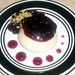 Semolina and milk pudding with blueberries