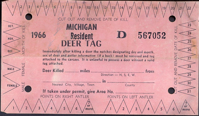 1966 michigan resident deer hunting license kill tag for Michigan fishing license online