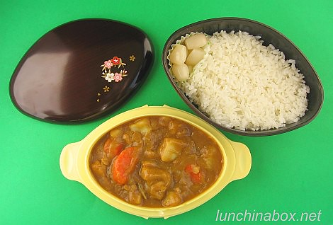 Curry rice bento lunch in donburi bento box (unassembled) | by Biggie*
