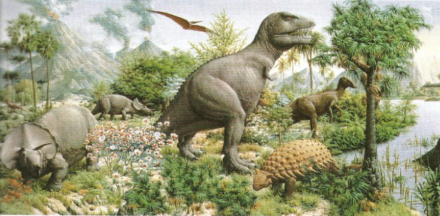 Life in the cretaceous painting by rudolph f zallinger for Age of reptiles mural