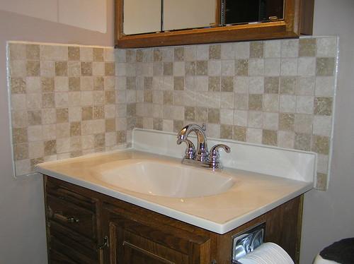 finished bathroom sink back splash rock smuggler flickr
