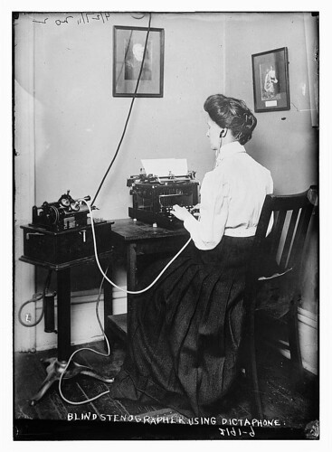 Blind stenographer using dictaphone  (LOC) | by The Library of Congress
