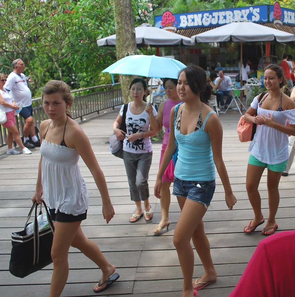 Pretty Tourists At Sentosa Island  Exotic Look May Be From  Flickr-3758