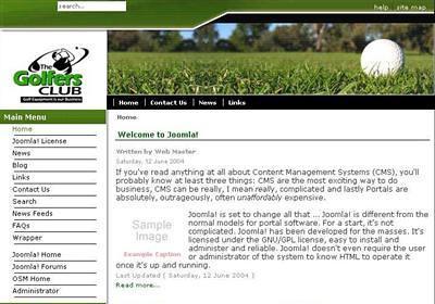 free golf green white joomla web2 0 theme template flickr. Black Bedroom Furniture Sets. Home Design Ideas
