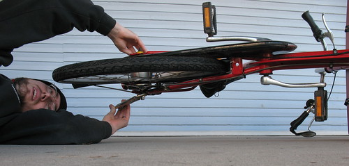 bakfiets rear wheel removal | by Mark Stosberg