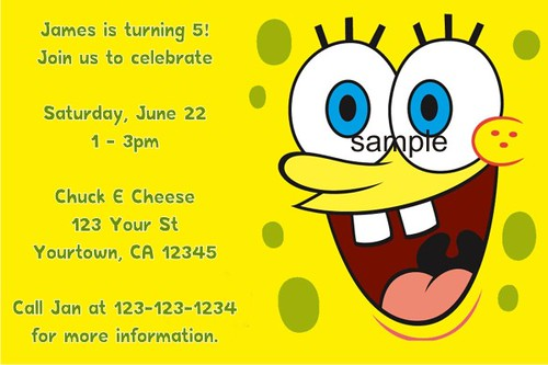 Personalized spongebob squarepants invitations custom pr flickr personalized spongebob squarepants invitations custom printable photo invitations for kids birthday party by personalizedpartyinvites filmwisefo