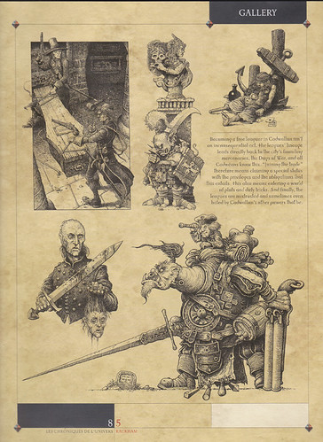 "Cry Havoc Page 1 - A selection of the many drawings produced for Rackham Miniatures. Shown here in their magazine ""Cry Havoc"", the brief called for dark, gritty characters shown in great detail. 