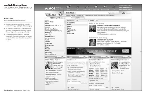 AOL.com Web Strategy Demo: Wireframe: Page 3 of 13 / 2004-08-02 / SML Interaction Design | by See-ming Lee (SML)