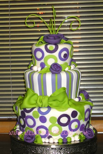 Green And Purple Whimsical Cake Whimsical Purple And