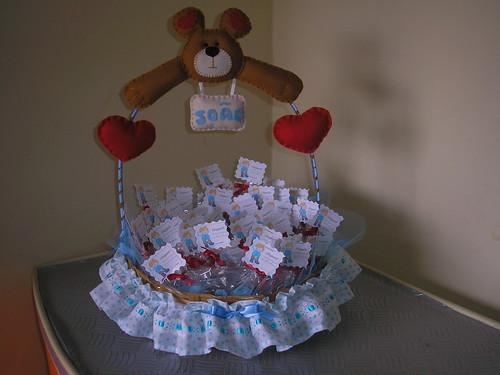 Cesta decorada com lembrancinhas de maternidade flickr - Como adornar cestas de mimbre ...