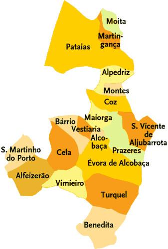 alcobaça mapa Concelho de Alcobaça   Portugal | Mapa das freguesias | Jorge  alcobaça mapa