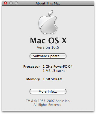 Pb 10 5 about this mac about this mac window for for Cuisine 3d mac os x