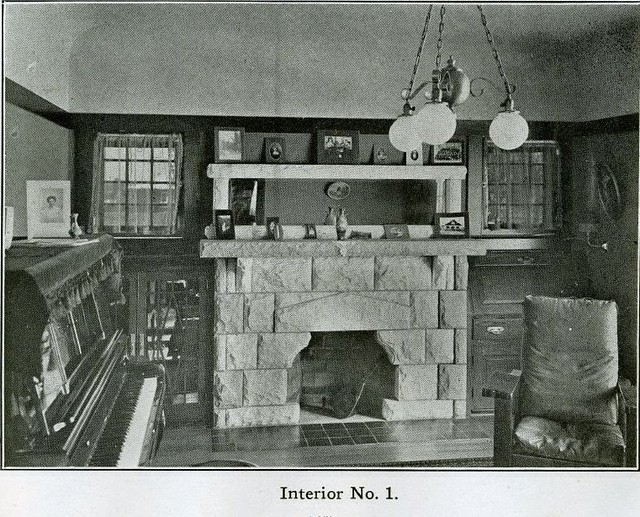 Arts And Crafts Interior 1910 Living Room Or Parlor