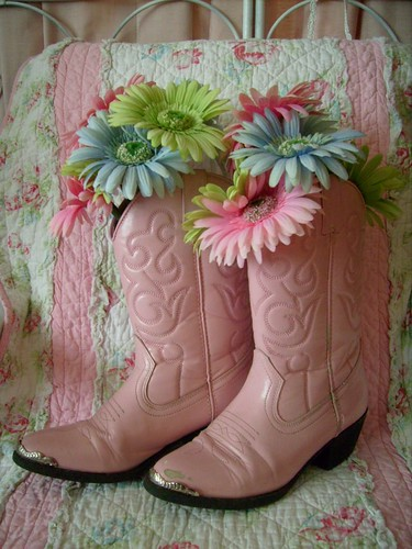 Pink,shabby,cottage,country,cowgirl,floral,arrangement,pair,boots 1 | by stephanies cottage!