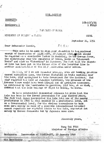 1951 0921 Transmittal of letter from Minister of Foreign Affairs of Korean Claim to Dokdo Island | by kaneganese