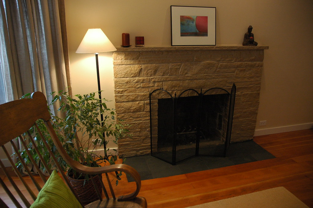 Zen Style After Painted Stone Fireplace Makeover With Fl