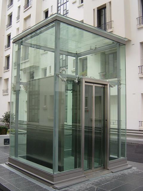 Panoramic glass elevator, Ascenseur Emch vitré, rue Pau Ca ...