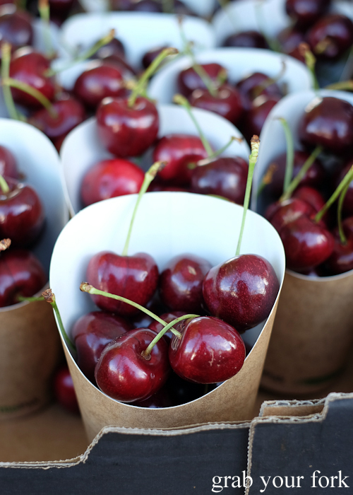 Paper cups of Tasmanian cherries at the Salamanca Market in Hobart