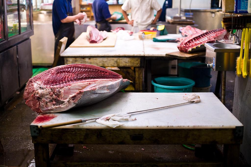 Oroshi Hocho Knives Hunk of Tuna With Oroshi Hocho