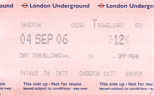 London Underground Ticket A Day Ticket For The London