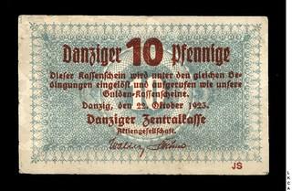 1923 Danzig 10 Pfennige banknote