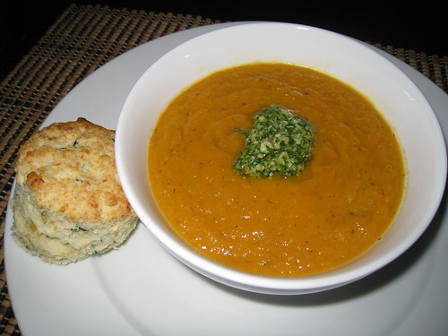 Carrot Soup with Dill Pesto and Sour Cream and Chive Biscuits | by Kevin - Closet Cooking