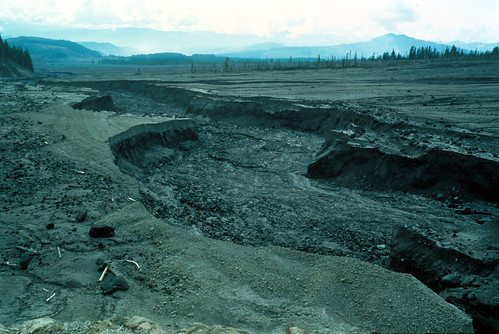 Image shows a plain of mud and debris, with conifers and distant mountains across the top center. There is a wide, winding channel eroded in the deposits.