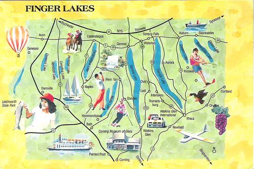 Finger Lakes Ny Map Postcard Finger Lakes New York