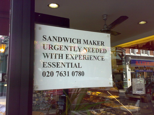 Sandwich maker with experience urgently needed | by benaston