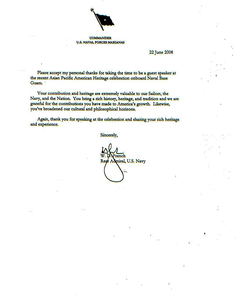 Thank you letter from rear admiral wd french bernie prov flickr guam thank you letter from rear admiral wd french by camp roxas agat guam expocarfo Gallery