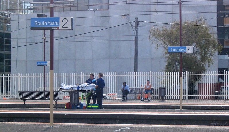 Paramedics at South Yarra station