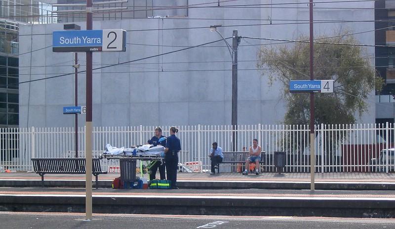 Paramedics at South Yarra station