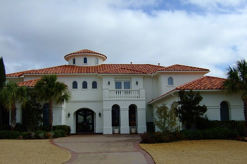 White Stucco House With Spanish Tile Roof Mediterranean