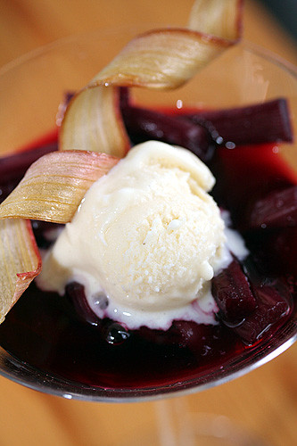 Rhubarb with White Chocolate Ice Cream | by David Lebovitz