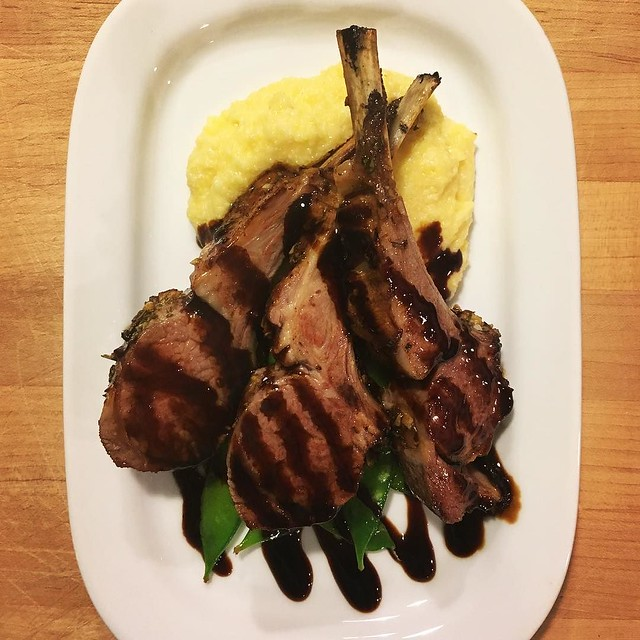 Recreating my Feb. 14 dinner in DC for my Valentine at home. Garlic-rosemary lamb chops, creamy polenta, snow peas, balsamic reduction.